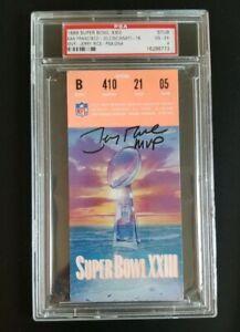 Jerry Rice Signed 1989 Superbowl XXIII MVP Inscribed Ticket Stub PSA VGEX 4 AUTO