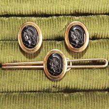 Vintage Correct Quality Gold Black Onyx Roman Soldier Intaglio Cameo Cufflinks