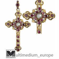 Historismus Siebenbürgen Silber Kreuz Anhänger Almandin Granat Antik 🌺🌺🌺🌺🌺
