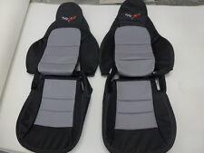 2005-2011 C6 Corvette Genuine Leather Seat Covers Black/Light Grey Standard Seat