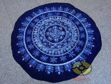 Handmade Indigo Tie Dye Rural Style Tablecloth Table Cover Tapestry ROUND φ59""