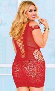 Fishnet Mini Dress Babydoll #8 Red Plus Size fits all thru 24W Big CD Lingerie