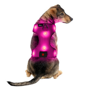 New Small Pink LED Dog Harness Light Up Adjustable Flashing Safety Belt Collar