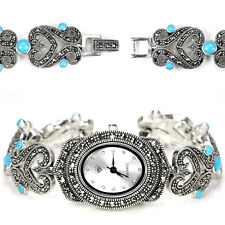 Sterling Silver 925 Genuine Turquoise and Marcasite Heart Design Watch 6.5 Inch