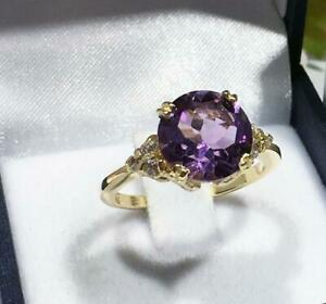 6Ct Round Cut Amethyst Simulated Diamond Statement Ring Yellow Gold Finsh Silver