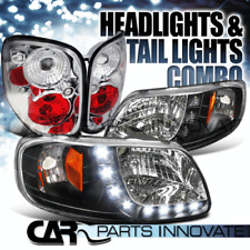 97-04 Ford F-150 Flareside SMD LED DRL Strip Black Headlights+Clear Tail Lamps