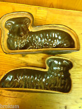 Early Terra Cotta Lamb Pudding Cake Mold~ 3 Dimensional Easter Reclining Lamb