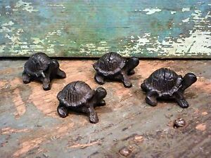 Cast Iron Set/4 Turtle Photo Card Wedding Party Holder Home Garden Office Decor