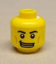 x1 New Lego Minifig Head Dual Sided Smile w Gold Teeth / Black Eye & Sad Look