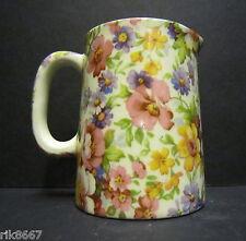 Heron Cross Pottery Summer Meadow (pink B/G) Chintz English 1/4 Pint Cream Jug
