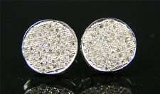 MENS/LADIES ROUND PAVE DIAMOND STUD EARRING 12MM 2.0CT