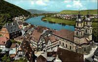 Miltenberg Bayern ~1960 Marktplatz Markt Katholische Pfarrkirche Fluss Main