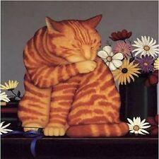 ORANGE TABBY CAT  COASTERS SET OF 4 RUBBER BACKED