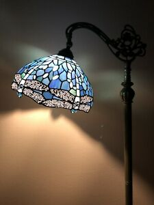 Enjoy Tiffany Style Floor Lamp Dragonfly Sea Blue Stained Glass Vintage H62.5 In