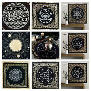 Tarot Altar Cloth Black Magic Gold Silver Wall Hanging Pagan Yule 24*24 Inch