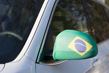 BRAZIL CAR MIRROR FLAG COVERS 2018 WORLD CUP SHIPS FROM USA