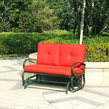 Glider Rocking Bench Garden Patio Loveseat Sofa Outdoor Cushioned Seat Brick Red