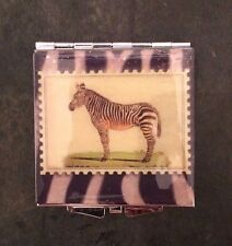 Collector Zebra Silver Square Mirror Compact or Pillbox