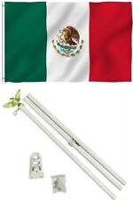 3x5 Mexico Mexican Flag w/ 6' Ft White Flagpole Kit Residential Business