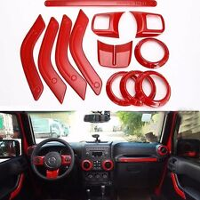 fit Jeep Wrangler 4dr 2011-18 Red ABS Car Inner Decoration Dashboard Trim Cover