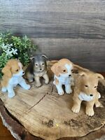 Set of 4 Vintage Collectible Homco Ceramic Cute Puppies Dogs Figurine Home Decor