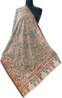 """Hand-Cut Kani Spring Floral Fine Wool Jamavar Shawl Pashmina 80""""x28"""" Green Stole"""