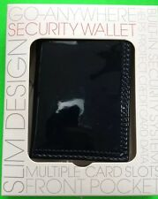 SHINY NAVY RFID BLOCKING (SECURITY) SLIM GUSSETED BIFOLD CARD CASE/WALLET NEW!!