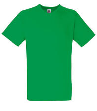 T-shirt uni homme col V manches courtes FRUIT OF THE LOOM  COULEUR VERT