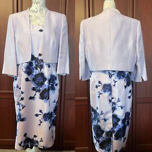 JAQUES VERT UK 16 Lilac& Blue dress + bolero jacket/ Wedding/ Event VGC