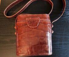 Beth Levine New York Crocodile Embossed Brown Leather Handbag Free Shipping