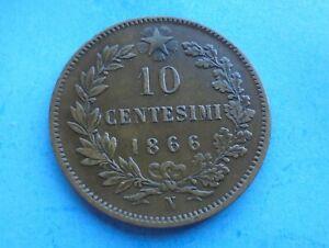 Italy, 10 Centesimi 1866 N, as shown.
