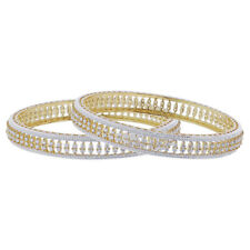 Gold Plated Cubic Zirconia CZ Bollywood Indian Bangle Bracelets Size 2.2 - 2.12