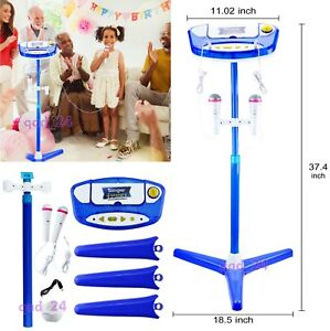 Kids Karaoke Machine With 2 Microphone Adjustable Stand Music Play Toys Set BLUE