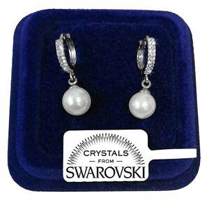 Orecchini Perla con Strass donna pl. oro Bianco 18K con cristalli Swarovski SW12