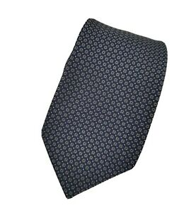BRIONI Midnight Blue Lead Geometric Woven Handmade in Italy 100% Silk Tie NWT