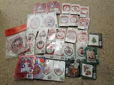 Various Cross Stitch Kits Christmas Ornaments Lot of 31
