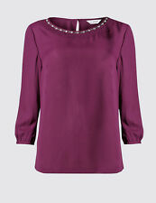 MARKS & SPENCER CLASSIC ¾ Sleeve Bead Frill Blouse BNWT