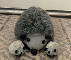 Plush Mama Hedgehog With Two Babies Vintage