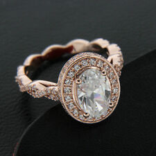 Solid 10k Rose Gold Oval Double Halo 2.25 Ct Diamond Engagement Ring For Womens