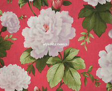1YD CECILIA PEONY GARDEN Flower Meadow Coral Sage Camelot Cottons Floral Fabric