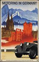 """MOTORING IN GERMANY TRAVEL VINTAGE REPRO A4 CANVAS PRINT POSTER 11.7"""" x 7.6"""""""