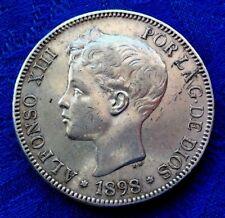MONNAIE EN ARGENT 5 PESETAS ALPHONSE XII 1898 S.G.V
