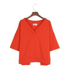 Damen Locker Kurzarm Bluse V-Ausschnitt Aushöhlen Schleife Top Orange Schwarz