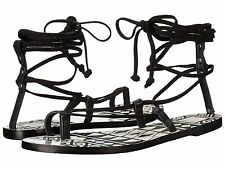 dolce vita chandler black leather thong laces wrap ankle woven flat sandals Sz 8