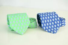 Lot of 2 Vineyard Vines Custom Collection Pingry - Silk Tie Green Blue - 60