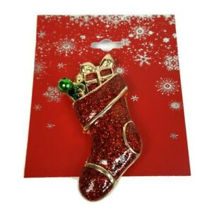 """Christmas Red Glitter Enamel Stocking Pin Brooch With Presents Gifts 2"""" NEW"""