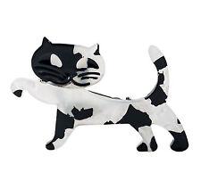 Cat Brooch Walking Acrylic Blk & White Appr 4x6cm