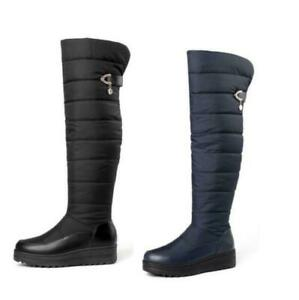Women Over Knee High Boots Chunky Heel Pull On Snow Boots Winter Warm 42 43 44