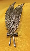 Vintage Antique .800 Sterling Silver Filigree Feather Brooch Pin Fine Jewelry