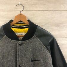 Vintage 90s Nike Leather Wool Varsity Bomber Jacket Black Gray Size Medium